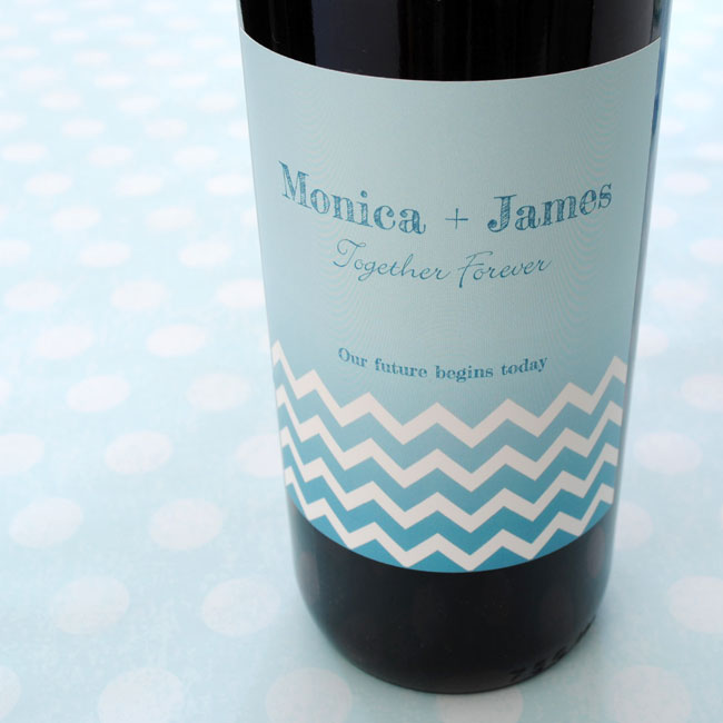 Wine label with ombré color fade.
