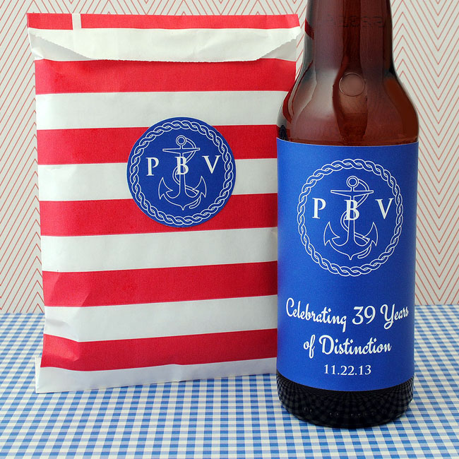 Nautical circle sticker and nautical beer label