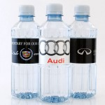 Custom bottled water for car dealership marketing