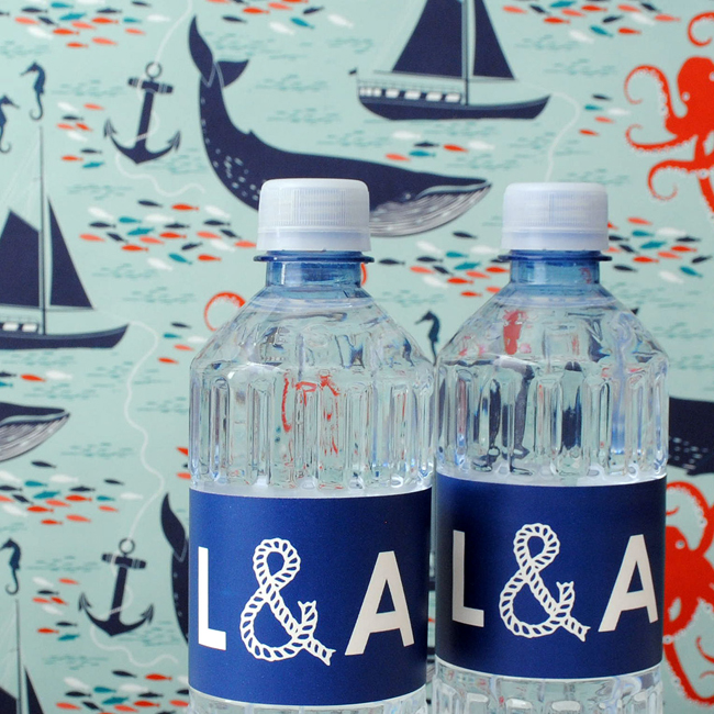 Nautical water bottle labels for party favors.