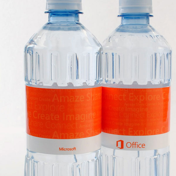 Announce a new product with customized bottled water