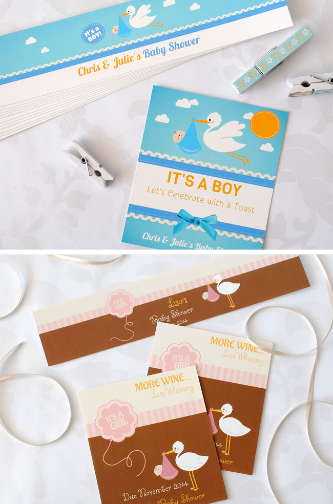 Stork theme baby shower labels.