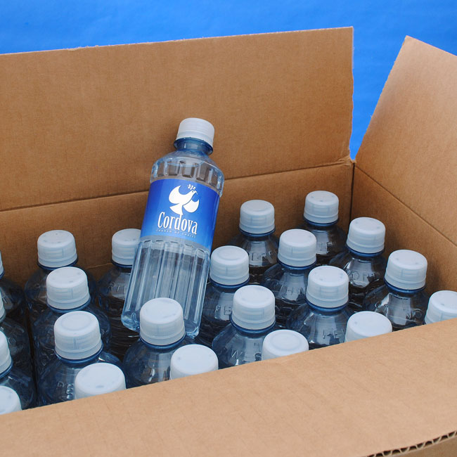 A case of custom bottled water