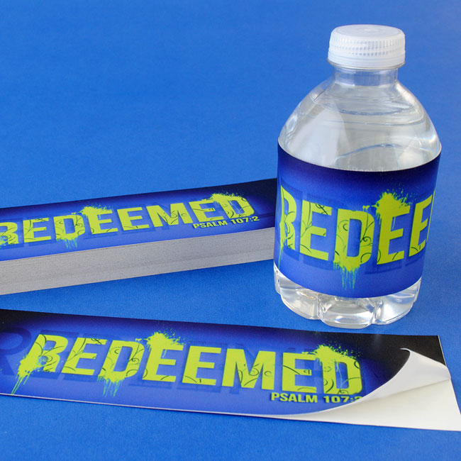 Church water bottle labels with adhesive backing.