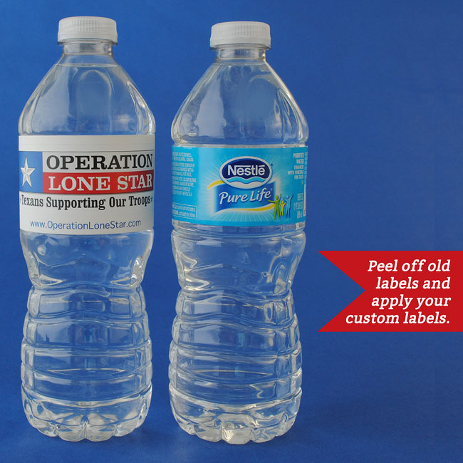 Bottled water with old label replaced with a new water bottle label