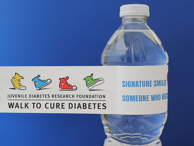 Walk to Cure Diabetes water bottle label