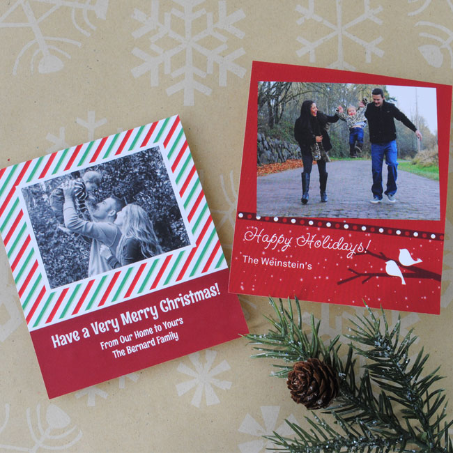 Christmas photo wine labels