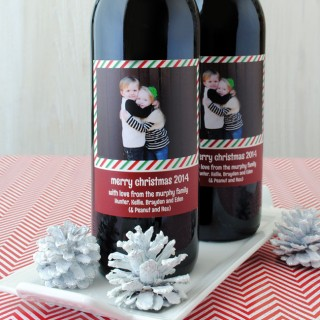 Photo wine label for Christmas