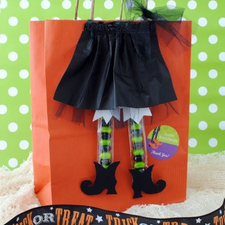 Make this trick or treat bag with Witchy legs filled with jelly beans