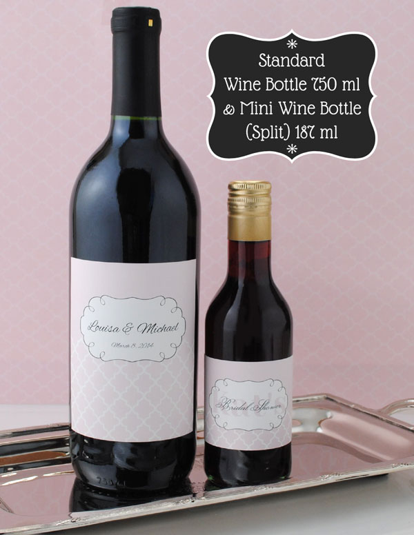 750 ml wine bottle with a 187 ml mini wine bottle.