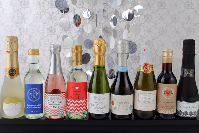 Mini-wine-and-champagne-bottles-with-BYB-labels