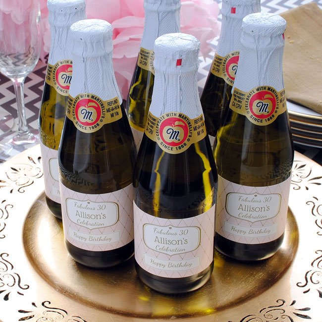 Martinellis Sparkling Cider mini bottles with custom label