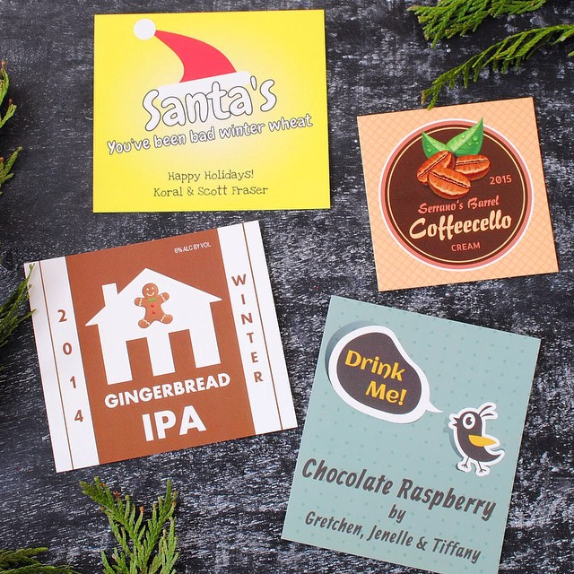 From the looks of the #customlabels our customers are making there's some tasty #brewing going on. #yum #IPA #instabeer #instagood #instawine #pouraglass #craftculture #craftbeer #winemaker #gingerbreadipa #winterwheat #coffeecello #chocolateraspberry #santadrinksbeer #beerlabels #winelabels #bottleyourbrand #DIYgifts