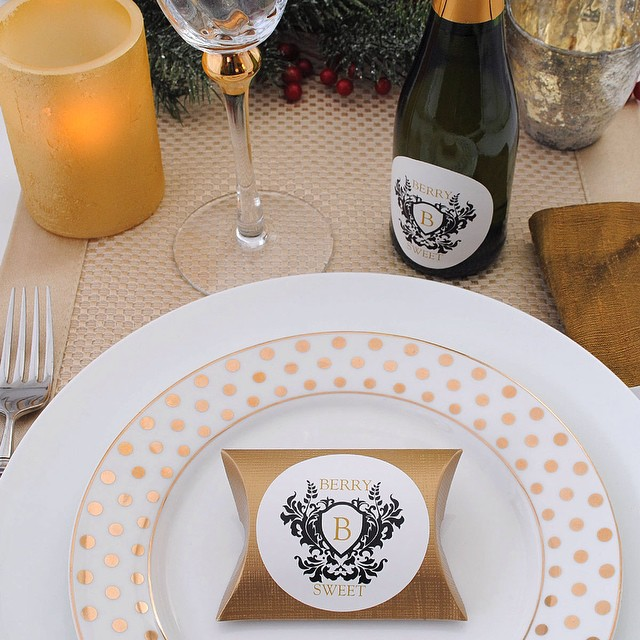 Add a touch of glam to your #holidaytable #circlestickers #customstickers #champagnesplit #partyfavors #drinkchampagne #monogramstickers #monogram #glam #tabledecorations #personalizedfavors #Christmastable #tablesetting #holidayinspiration #bottleyourbrand
