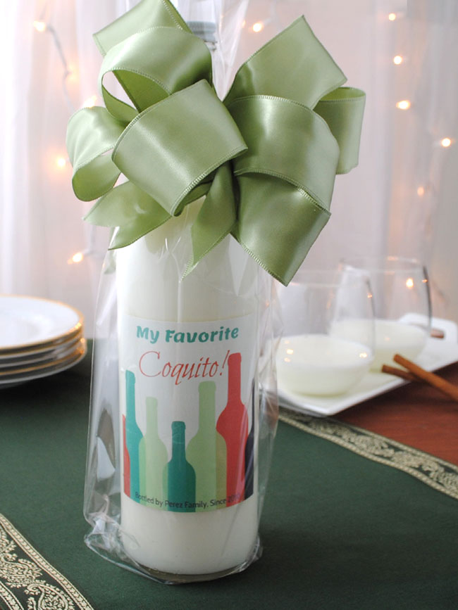 Coquito gift bottle