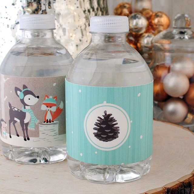 Super cute woodland creatures water bottle labels submitted by customer Cynthia of #Colorado #waterbottlelabels #winterparty #bottlewrappers #customlabels #customstickers #hydrate #refresh #springwater #privatelabel #custombottledwater #bambi #partyfavors #bottleyourbrand #winterwonderland