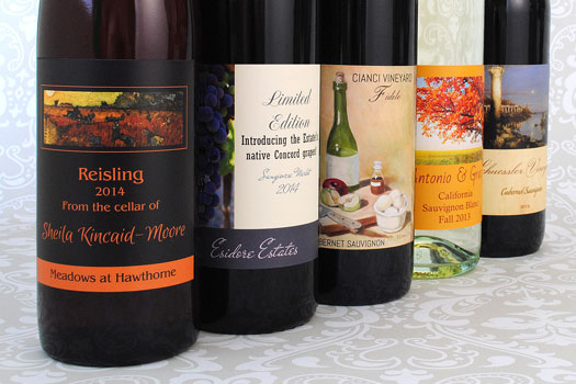 Hommade wine with custom wine labels