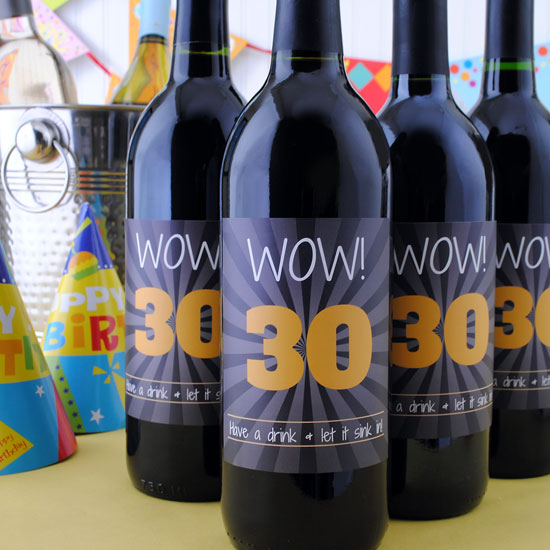Wow 30th Birthday wine label