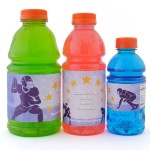 Sports drink bottles with custom labels in three bottle sizes