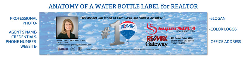 Water Bottle Label for a Realtor