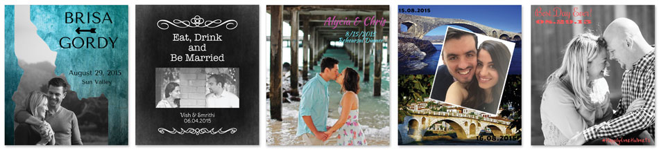 Five examples of photo wine labels from real couples.