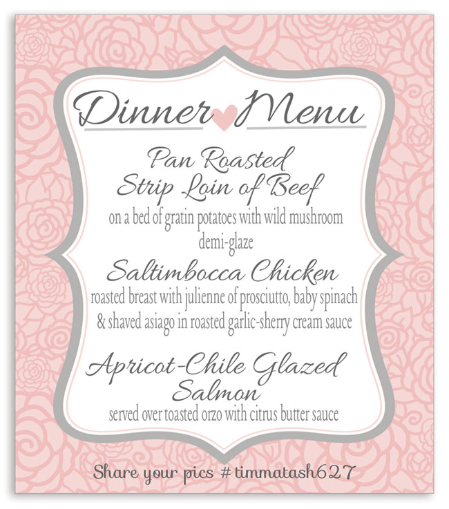 Menu wine label showing the dinner courses at a wedding. Made by one of our customers.