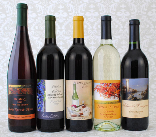Wine bottles with old labels removed