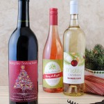 Bottles of wine with holiday labels
