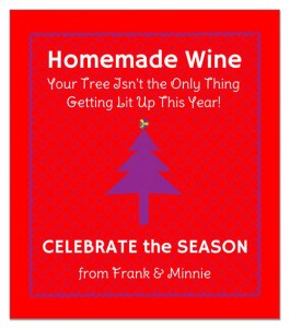 Funny holiday wine label.