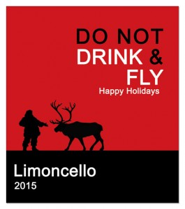 Holiday Wine Label Saying featuring Santa and his reindeer