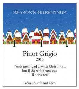 White Wine Christmas Label