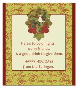 A holiday wine label toast