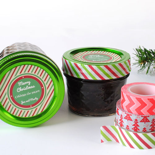 "Circle-sticker-""Celebrate-the-Season""-on-Jam-jars-with-washi-tape"