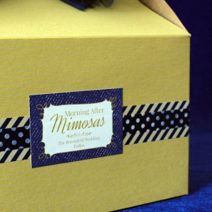"Decorative tape and a custom wedding sticker complete the look of the ""Morning After"" Mimosa Kit."