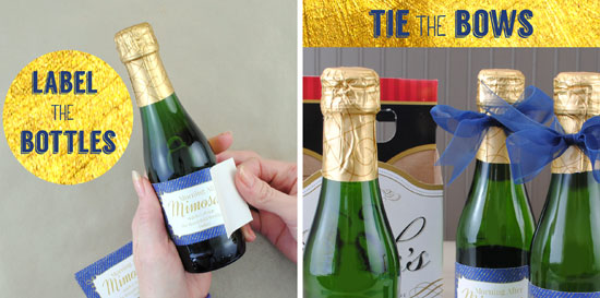 Mimosa kits with mini Champagne bottles and personalize mini champagne labels