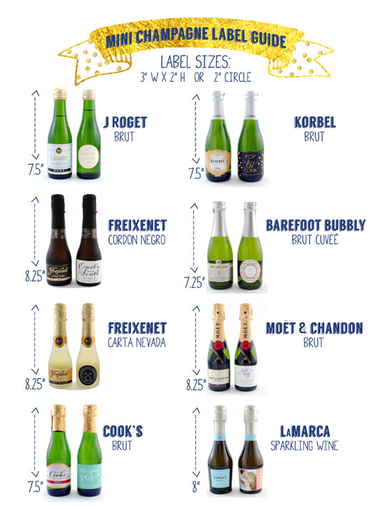 Printable Guide to making your own mini Champagne labels for splits