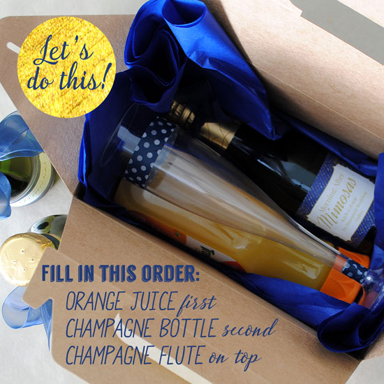 Fill the gable box with the Champange split, orange juice and Champagne flute.