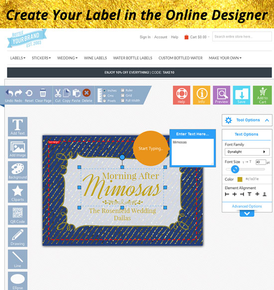 Online label designer let's you make any design.