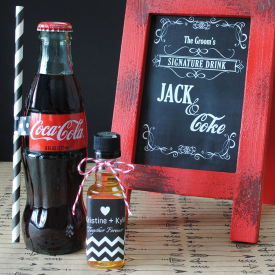 Mini liquor labels for Jack and Coke Party favors