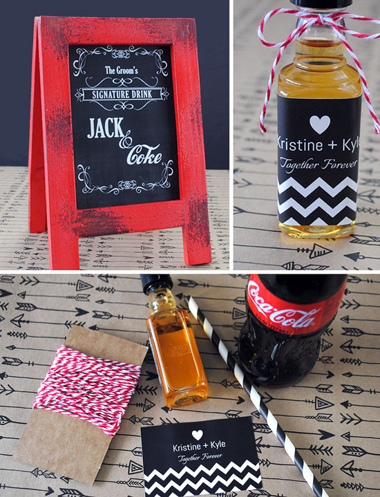 Materials to make the Grooms Signature Drink including custom mini liquor labels