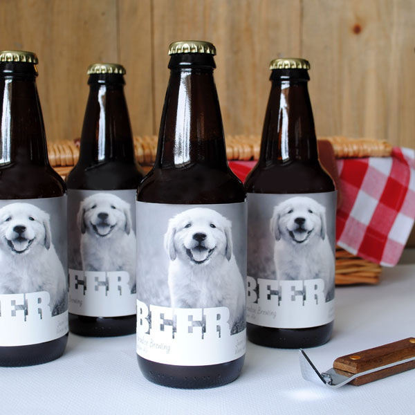 Beer labels with a puppy photo