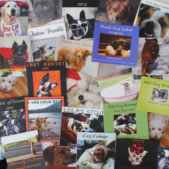 A collage of custom labels made with dog photos. These are actual customer created designs.