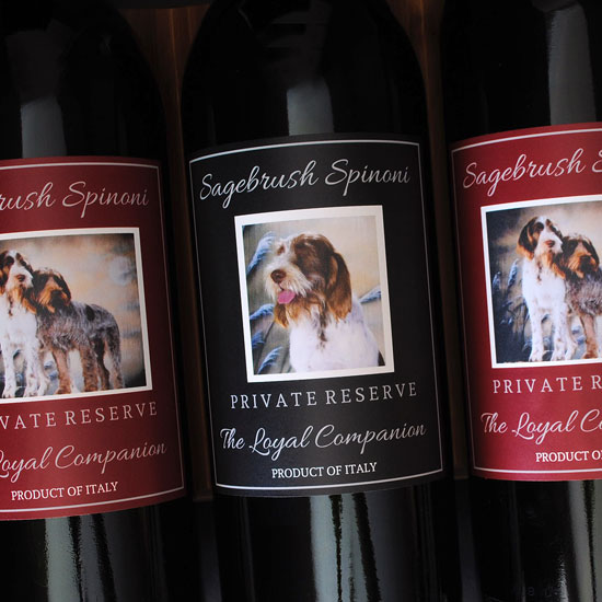 Custom wine label with photo of dogs