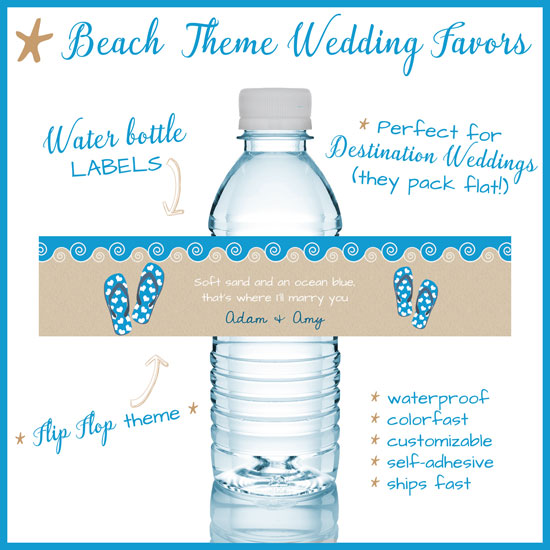 "Beach theme ""Flip Flops"" water bottle labels"