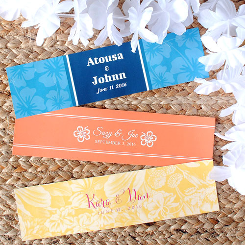 Beach Theme water bottle labels with tropical flowers