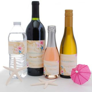 Beach wedding favor examples: water bottle labels, winelabels, mini wine labels and mini Champagne labels.
