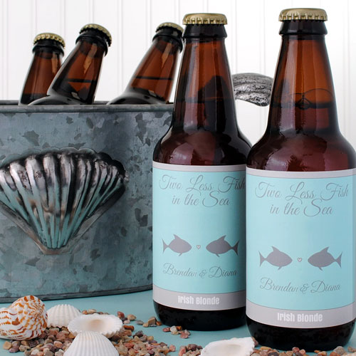 Home brewed beer with a custom beach theme wedding label; two less fish in the sea.
