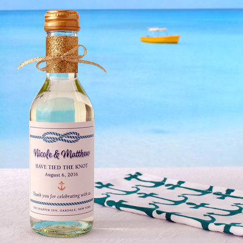 Tied the knot is an example of a beach theme wedding favor. This is a 3 x 3 mini wine label.