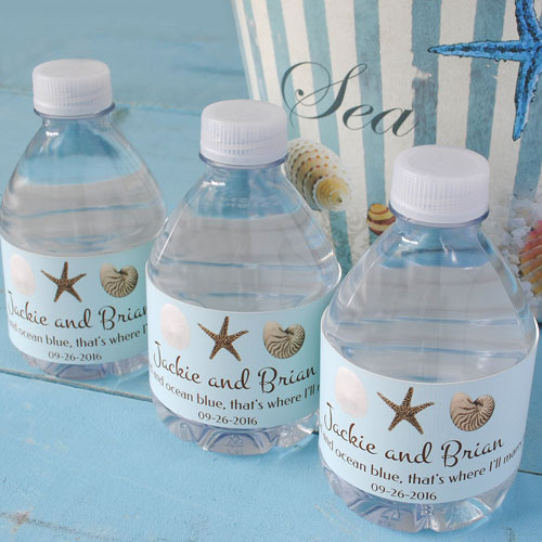 Shells are perfect for beach them wedding favors like these shell water bottle labels