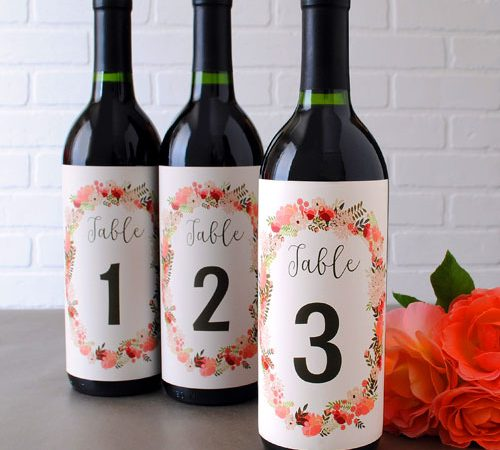 Table number labels for wine bottles